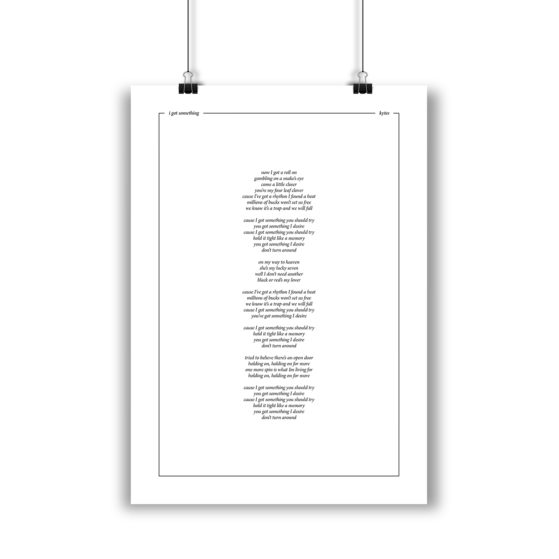 Lyricposter I Got Something (Minimal-Serie)